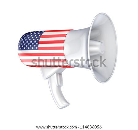 Loudspeaker with american  flag.Isolated on white background.3d rendered.