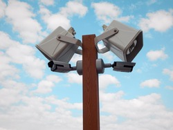 Loudspeakers and camcorders on a pole. Alert and video surveillance system.