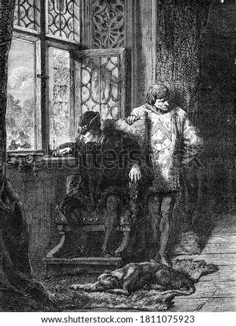 Louis XI at Plessis-lez-Tours, Vintage engraving. From Popular France, 1869. Stock fotó ©