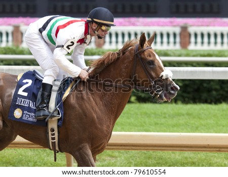 LOUISVILLE, KY - JUNE 18: Stephen Foster Day at Churchill Downs horse race track June 18, 2011 in Louisville, KY. Dixies Valentine (jockey Calvin Borel) finishes second at the Arabians race
