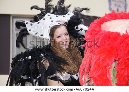 LOULE, PORTUGAL - FEB 16: girl with costume smilling in Carnival Loule Parade Feb 16, 2010 in Loule, Portugal.