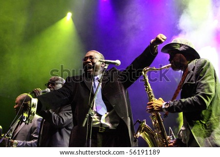 LOULE, PORTUGAL - JUNE 25: Orchestra Baobab performs onstage at Festival Med June 25, 2010 in Loule, Portugal.