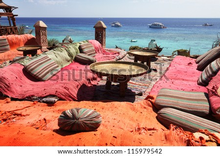lounge and relax area on red sea in sharm el sheikh