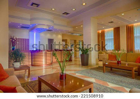 Lounge area of a hotel, club, company lobby. Fragment of the modern lobby of the five stars hotel