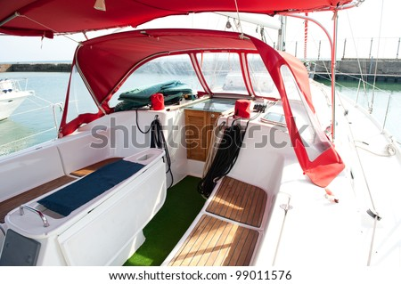 Lounge cockpit inside a boat.
