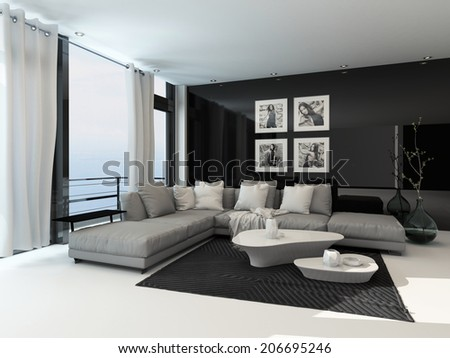 Lounge interior in a coastal apartment with floor to ceiling windows overlooking the sea, curtains, a comfortable beige corner lounge unit, carpet and modern coffee tables with dark accents #206695246