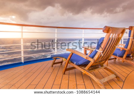 Lounging chair on a cruise ship