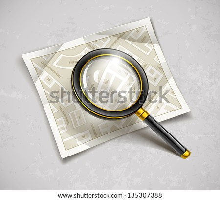 loupe magnifying glass tool with streets paper map, loupe magnifying glass tool with streets paper map. Rasterized illustration. Vector version also available in my gallery.