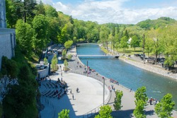 Lourdes, France: 2017 1 may: Morning in the  River in The Sanctuary of Our Lady of Lourdes is one of the largest pilgrimage centers in Europe