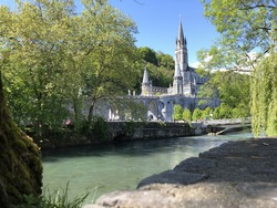 Lourdes, France. Panoramic view of the Sanctuary of Our Lady of Lourdes
