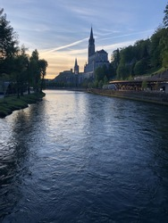 Lourdes, France - Panoramic view of  the Sanctuary of Our Lady of Lourdes, at the crack of dawn