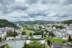 Lourdes, France. The Sanctuary of Our Lady of Lourdes and river Gave de Pau. French city is located in southern France in the foothills of the Pyrenees mountains
