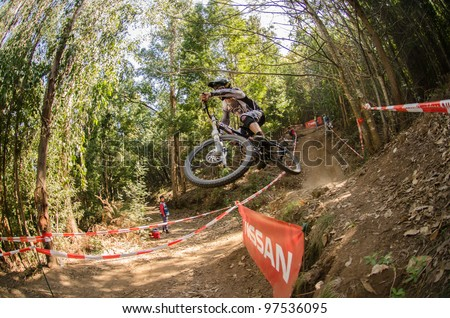LOUSA, PORTUGAL - MARCH 11: Luis Zarco competes during the 2nd Stage of the Taca de Portugal Downhill Vodafone on March 11, 2012 in Lousa, Portugal.