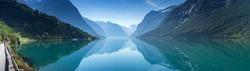 Lovatnet lake, Norway Panoramic view