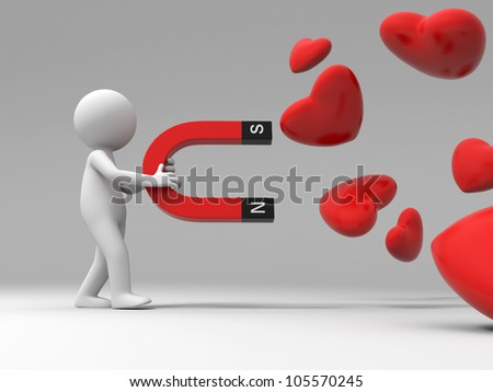love/A 3d people collect love with a magnet