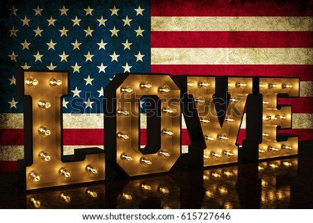 love america 3d illustration