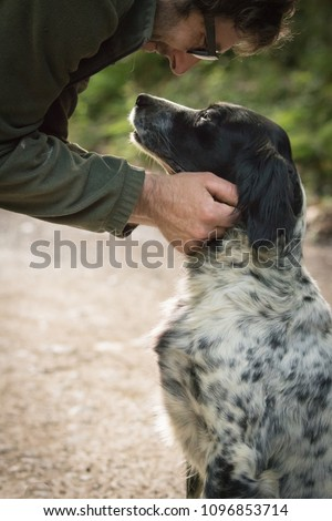 love and affection between man and his dog #1096853714