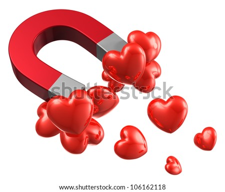 Love and attraction concept: lot of red hearts attracted by metal horseshoe magnet isolated on white background
