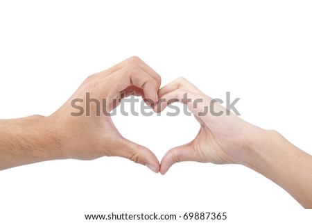 love and heart concept. hands of man and woman forming a heart isolated on white background