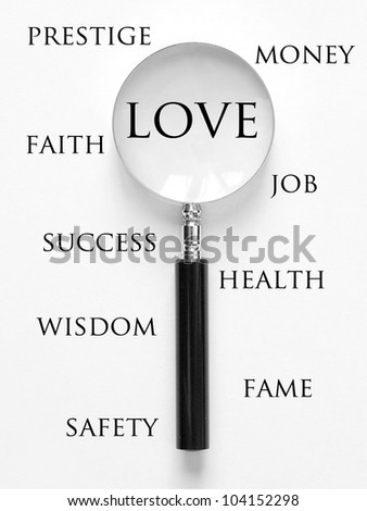love and magnifying glass