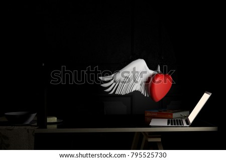 Love and technology concept . red heart and labtop.Valentines day.3d rendering. 3d illustration.minimal style