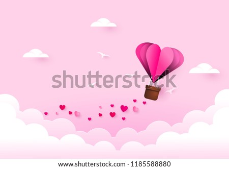 Love and valentine day. Heart air balloon.