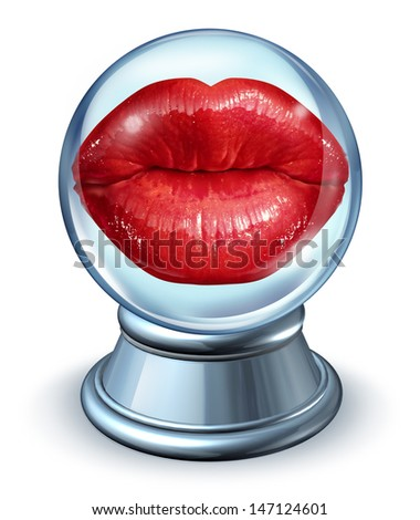 Love astrology concept with red woman lips in a crystal ball as a symbol of dating horoscope and predicting romantic future relationships as signs from the zodiac to forecast partner compatibility.