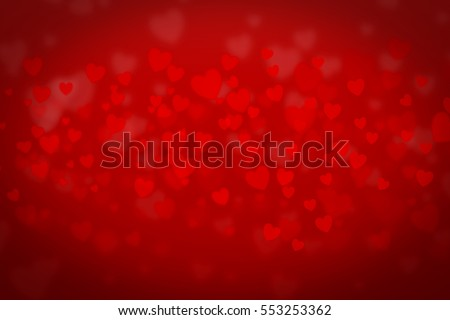 Love background red heart for valentine day. 3d abstract blur pattern glitter.