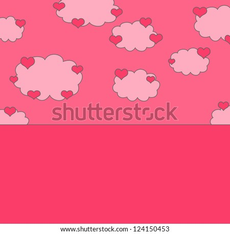 Love background with hearts on clouds with place for text
