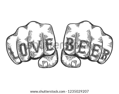 Love beer words tattoo on fists font engraving raster illustration. Scratch board style imitation. Black and white hand drawn image.