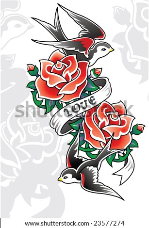 Tattoo Love Birds on Rose And Sword Tattoo Heart Tattoo Emblem Find Similar Images