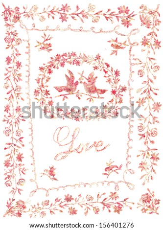 Love card with hand drawn embroidery of pigeons and flowers