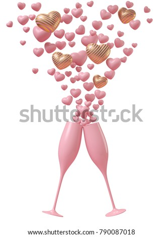 Love cerebration with champagne. Pink champagne glass  with small pink and gold hearts like splash of champagne on white background. 3d illustration rendering.