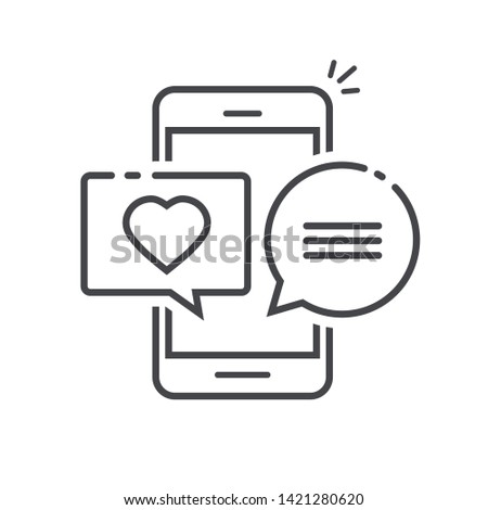 Love chat message in mobile phone screen illustration, line outline art design of cellphone or smartphone with heart messages in bubble speeches isolated image