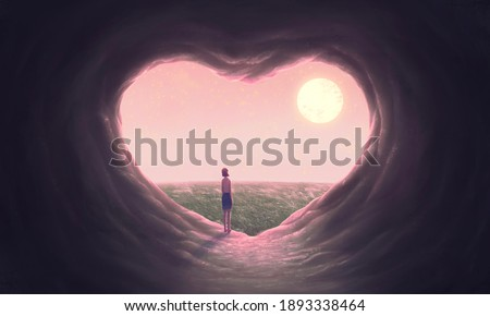 Love concept art Floating  woman with heart cave, imagination painting, 3d illustration, conceptual artwork, fantasy nature landscape
