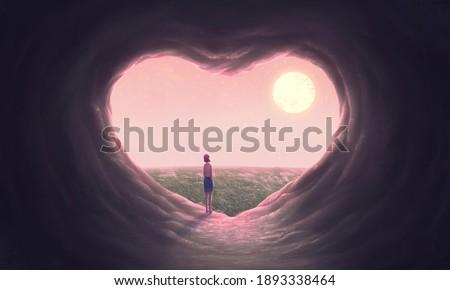 Love concept art  woman with heart cave, imagination painting, 3d illustration, conceptual artwork, fantasy nature landscape