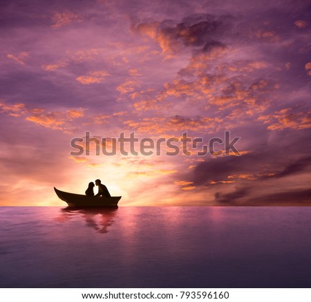 Love Concept, Silhouette of Couple having Romantic Moment and making Kiss on Boat in the Bursting Twilight Sea, Dramatic Emotional, Valentines Day Background