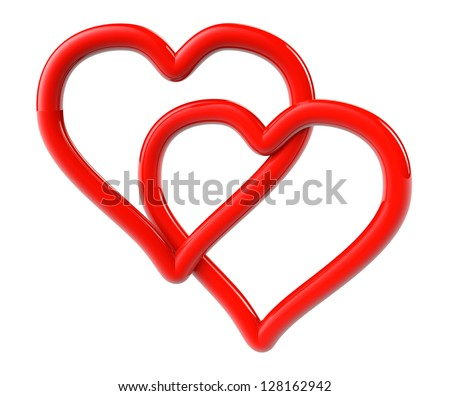 Love Concept. Two red hearts as ring on a white background - stock photo