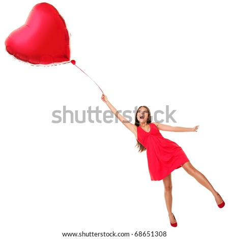 Love Concept. Woman Flying Away With Red Heart Balloon ...