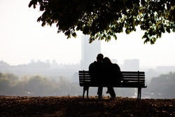 love couple on bench