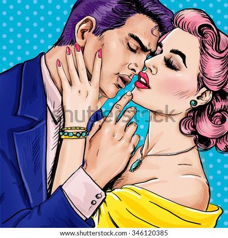 Love couple.Pop Art Couple.Pop Art love. Valentines day postcard. Hollywood movie scene. Love Pop Art illustration Pop Art love. Valentines day postcard. Real love. Movie poster. Comic book love. male