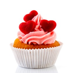 Love cupcakes with red hearts and butter cream