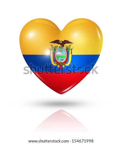 Love Ecuador symbol. 3D heart flag icon isolated on white with clipping path