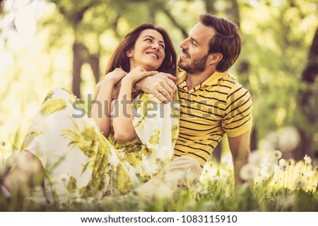 Love emotion. Couple at nature. Spring season.