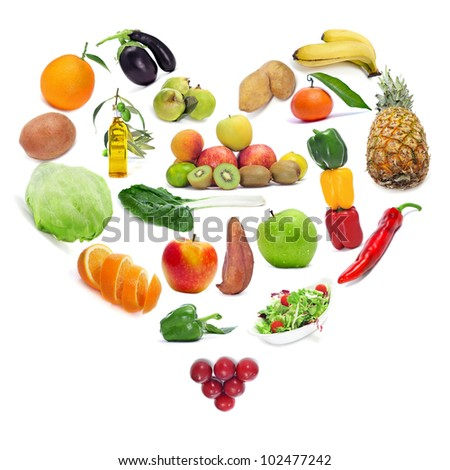 love for the healthy food: fruits and vegetables forming a heart