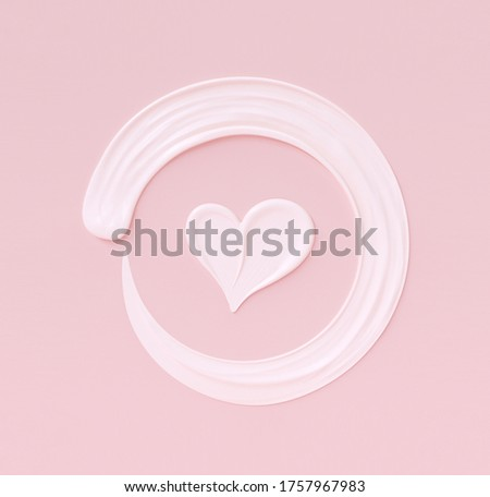 Love girly background. Cosmetic cream pastel pink and white template banner with heart shape and round frame smears. 3d rendering.