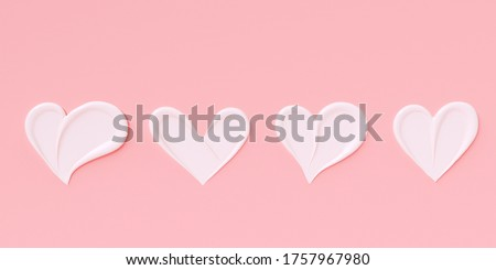 Love girly background. Cosmetic cream pastel pink and white template banner with heart shape smears. 3d rendering.