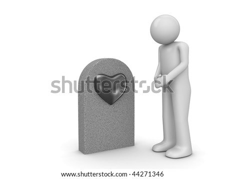 Love grave and sorrowful man (love, valentine day series; 3d isolated character)