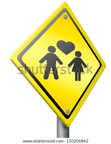 love happy couple warning sign