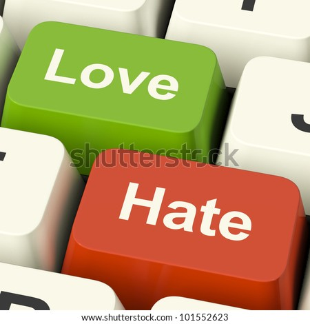 Love Hate Computer Keys Shows Emotion Anger And Conflict
